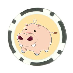 Happy Cartoon Baby Hippo Poker Chip Card Guard by Catifornia