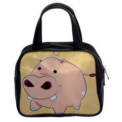 Happy Cartoon Baby Hippo Classic Handbags (2 Sides) by Catifornia