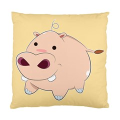 Happy Cartoon Baby Hippo Standard Cushion Case (one Side) by Catifornia