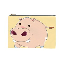 Happy Cartoon Baby Hippo Cosmetic Bag (large)  by Catifornia
