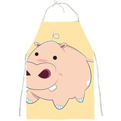 Happy Cartoon Baby Hippo Full Print Aprons by Catifornia