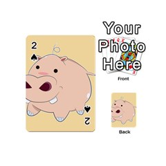 Happy Cartoon Baby Hippo Playing Cards 54 (mini)  by Catifornia