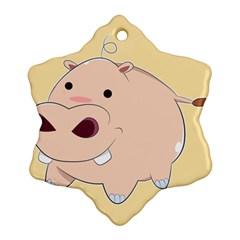 Happy Cartoon Baby Hippo Ornament (snowflake) by Catifornia