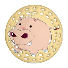 Happy Cartoon Baby Hippo Round Filigree Ornament (two Sides) by Catifornia