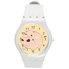 Happy Cartoon Baby Hippo Round Plastic Sport Watch (m) by Catifornia