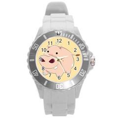 Happy Cartoon Baby Hippo Round Plastic Sport Watch (l) by Catifornia