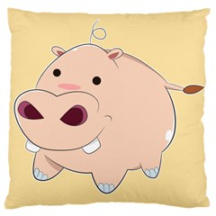 Happy Cartoon Baby Hippo Large Cushion Case (two Sides) by Catifornia