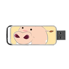 Happy Cartoon Baby Hippo Portable Usb Flash (one Side) by Catifornia