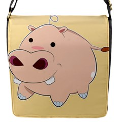 Happy Cartoon Baby Hippo Flap Messenger Bag (s) by Catifornia
