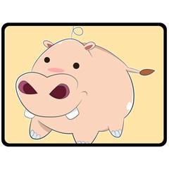 Happy Cartoon Baby Hippo Double Sided Fleece Blanket (large)  by Catifornia