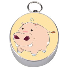 Happy Cartoon Baby Hippo Silver Compasses by Catifornia