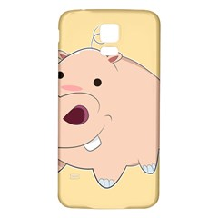 Happy Cartoon Baby Hippo Samsung Galaxy S5 Back Case (white) by Catifornia