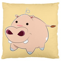 Happy Cartoon Baby Hippo Standard Flano Cushion Case (two Sides) by Catifornia