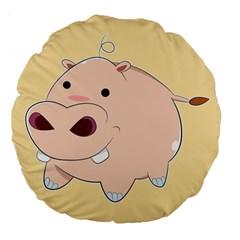 Happy Cartoon Baby Hippo Large 18  Premium Flano Round Cushions by Catifornia
