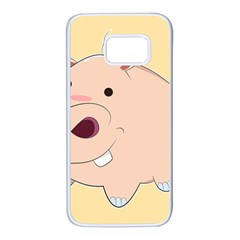 Happy Cartoon Baby Hippo Samsung Galaxy S7 White Seamless Case by Catifornia