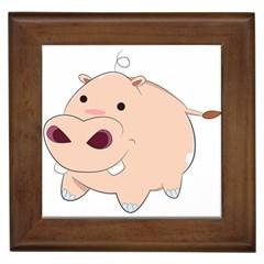 Happy Cartoon Baby Hippo Framed Tiles by Catifornia