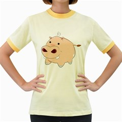 Happy Cartoon Baby Hippo Women s Fitted Ringer T Shirts by Catifornia