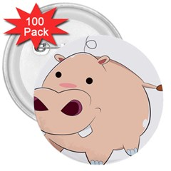 Happy Cartoon Baby Hippo 3  Buttons (100 Pack)  by Catifornia