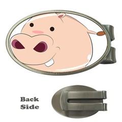 Happy Cartoon Baby Hippo Money Clips (oval)