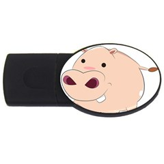 Happy Cartoon Baby Hippo Usb Flash Drive Oval (2 Gb) by Catifornia