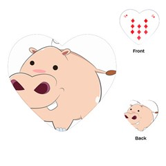 Happy Cartoon Baby Hippo Playing Cards (heart)  by Catifornia