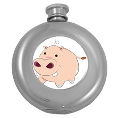 Happy Cartoon Baby Hippo Round Hip Flask (5 Oz) by Catifornia