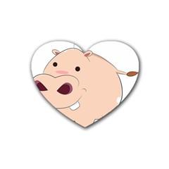 Happy Cartoon Baby Hippo Heart Coaster (4 Pack)  by Catifornia