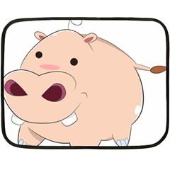 Happy Cartoon Baby Hippo Fleece Blanket (mini) by Catifornia