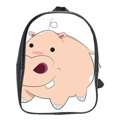 Happy Cartoon Baby Hippo School Bags(large)  by Catifornia