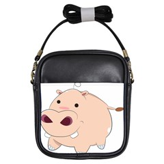 Happy Cartoon Baby Hippo Girls Sling Bags by Catifornia