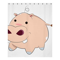 Happy Cartoon Baby Hippo Shower Curtain 60  X 72  (medium)  by Catifornia