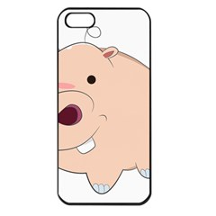 Happy Cartoon Baby Hippo Apple Iphone 5 Seamless Case (black) by Catifornia