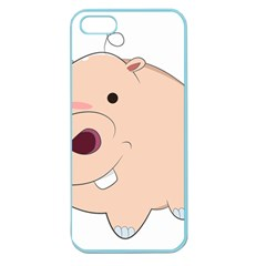 Happy Cartoon Baby Hippo Apple Seamless Iphone 5 Case (color) by Catifornia