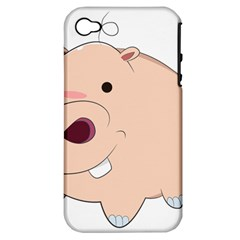 Happy Cartoon Baby Hippo Apple Iphone 4/4s Hardshell Case (pc+silicone) by Catifornia
