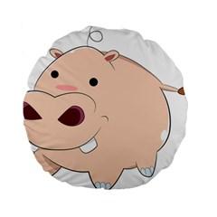 Happy Cartoon Baby Hippo Standard 15  Premium Round Cushions by Catifornia
