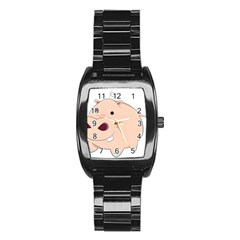 Happy Cartoon Baby Hippo Stainless Steel Barrel Watch by Catifornia