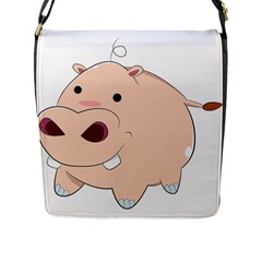 Happy Cartoon Baby Hippo Flap Messenger Bag (l)  by Catifornia