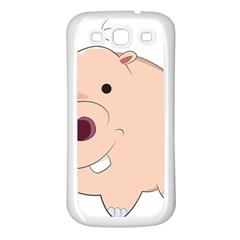 Happy Cartoon Baby Hippo Samsung Galaxy S3 Back Case (white) by Catifornia