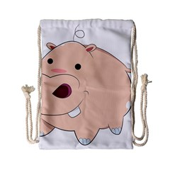 Happy Cartoon Baby Hippo Drawstring Bag (small) by Catifornia