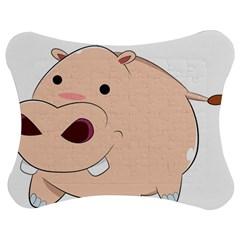 Happy Cartoon Baby Hippo Jigsaw Puzzle Photo Stand (bow) by Catifornia