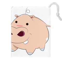 Happy Cartoon Baby Hippo Drawstring Pouches (xxl) by Catifornia