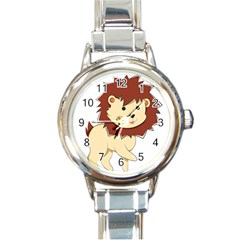 Happy Cartoon Baby Lion Round Italian Charm Watch by Catifornia