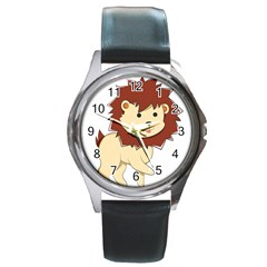 Happy Cartoon Baby Lion Round Metal Watch by Catifornia