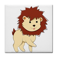 Happy Cartoon Baby Lion Tile Coasters by Catifornia