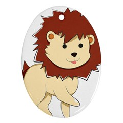 Happy Cartoon Baby Lion Ornament (oval) by Catifornia