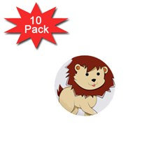 Happy Cartoon Baby Lion 1  Mini Buttons (10 Pack)  by Catifornia
