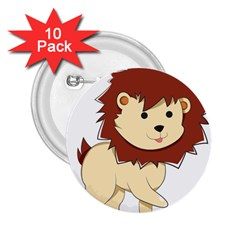 Happy Cartoon Baby Lion 2 25  Buttons (10 Pack)  by Catifornia