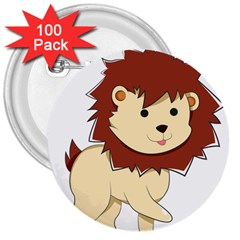 Happy Cartoon Baby Lion 3  Buttons (100 Pack)  by Catifornia