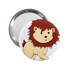 Happy Cartoon Baby Lion 2 25  Handbag Mirrors by Catifornia
