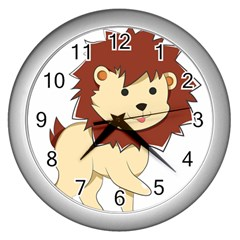 Happy Cartoon Baby Lion Wall Clocks (silver)  by Catifornia